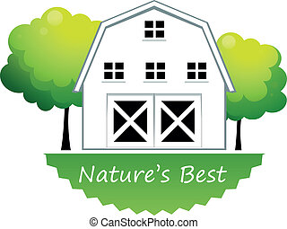 A nature's best label with a farmhouse