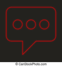 Neon Icon Isolated on a Black Background - Speech Bubble with Dots