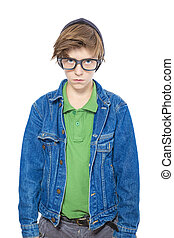 a nerd like male teenager with big black glasses, isolated on white.