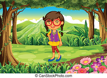 A nerd young lady at the forest