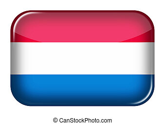 Netherlands web icon rectangle button with clipping path 3d illustration