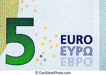 A new 5 Euro bank note with added B - A close-up of a new 5 ...