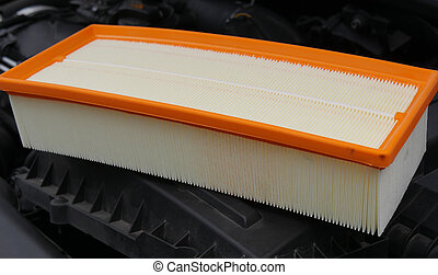 new car air filter on the engine