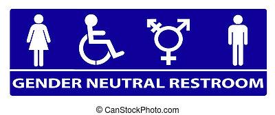 gender neutral bathroom sign - A new gender neutral bathroom...