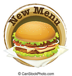 Illustration of a new menu label with a big burger on a white background