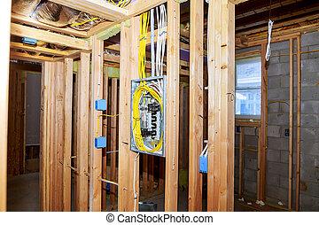 A new stick built interior construction basement renovation