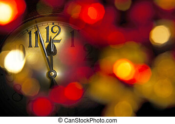 new year clock - a new year clock with dark unfocused...
