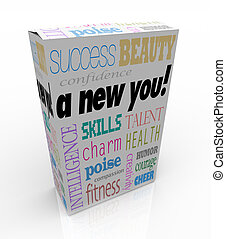A product box with with the words A New You advertising instant self improvement with qualities such as success, beauty, intelligence, confidence, charm, poise, skills, compassion, cheer, creativity, humor, health, talent, fitness, and courage