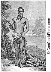 "New Zealand Native - ""A New Zealand Native"". Engraving by..."
