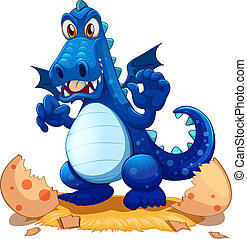 Illustration of a newly hatched blue dragon on a white background