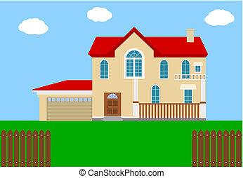 a nice big house realistic with gar