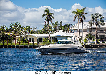Blue and White Yacht in Intracoastal