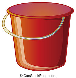a nice drawing of a red bucket