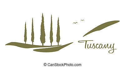 A nice Tuscany graphic with some trees and the text Tuscany