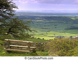 A view from on top of the Mendip hills in Somerset England