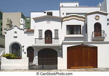 A nice white house with balcony in Lima, Peru