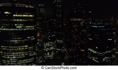 A night Aerial shot of skyscrapers of Moscow International...