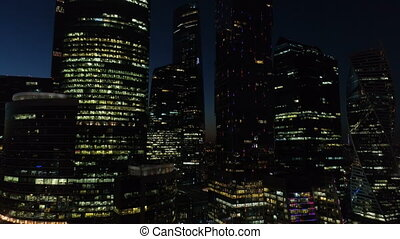 A night Aerial shot of skyscrapers of Moscow International Business Centre.