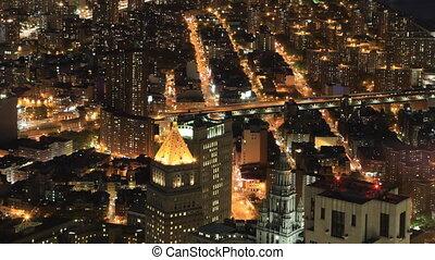 Night aerial timelapse of Brooklyn Bridge