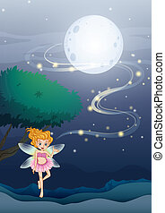 A night angel floating in the middle of the night -...