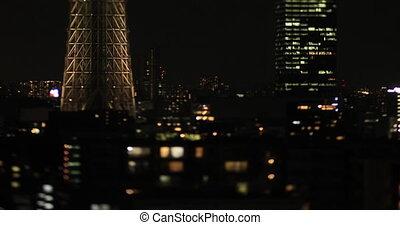 A night miniature Tokyo sky tree at the urban city in Tokyo long shot tiltshift