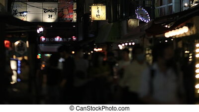 A night neon street at the downtown in Akabane Tokyo