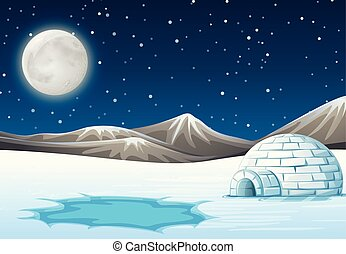 A night north pole background illustration