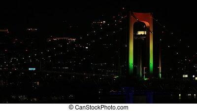 A night Rainbow bridge at the urban city in Tokyo long shot