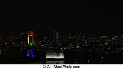A night Rainbow bridge at the urban city in Tokyo wide shot