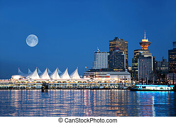 Canada Place, Vancouver - A night scene of Canada Place,...