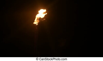 A night shot of a flaming gas torch of petrochemical...