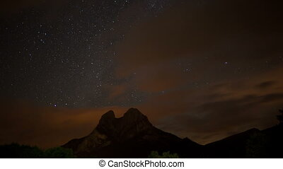 a night time star timelapse of the beautiful pedra forca mountain landscape, catalunya, spain (during the peseids meteor shower, august 2012)