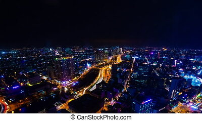 A night timelapse of cityscape in Ho Chi Minh high angle wide shot panning