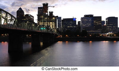 Night to day timelapse of Portland, Oregon city center - A...