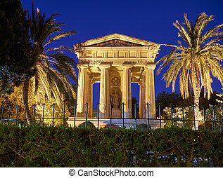 A night view of monument to Sir Alexander Ball in the Lower ...