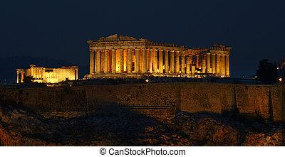 Parthenon - A night view of Parthenon temple; panoramic.