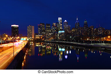 A night view of Philadelphia
