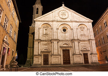 A night view of Pienza, Italy