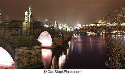 A night view of the river Vltava and Charles Bridge in Prague, Czech Republic