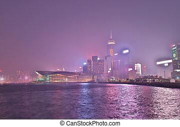 a night view of Wan Chai in Hong Kong