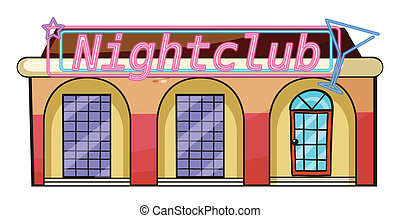 A nightclub - Illustration of a nightclub on a white...