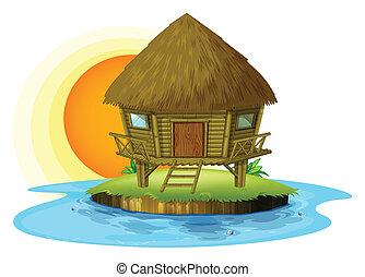 A nipa hut in an island