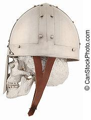 helmet - A Norman helmet with a silver human skull