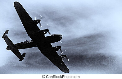 A nostalgic image of this iconic world war 2 bomber, the Avro Lancaster Bomber, one of only two still flying today