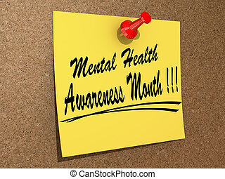 Mental Health Awareness Month - A note pinned to a cork...