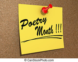 "Poetry Month - A note pinned to a cork board with the text ""..."