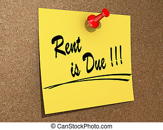"""A note pinned to a cork board with the text """"Rent is Due""""."""