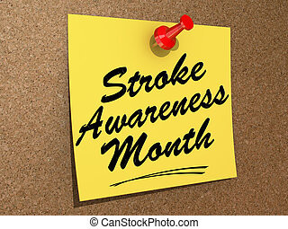 Stroke Awareness Month - A note pinned to a white background...