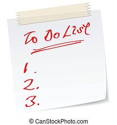 to do list - a note with handwritten message as to do list.