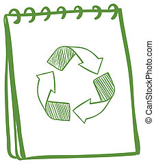 A notebook showing the recycle signs